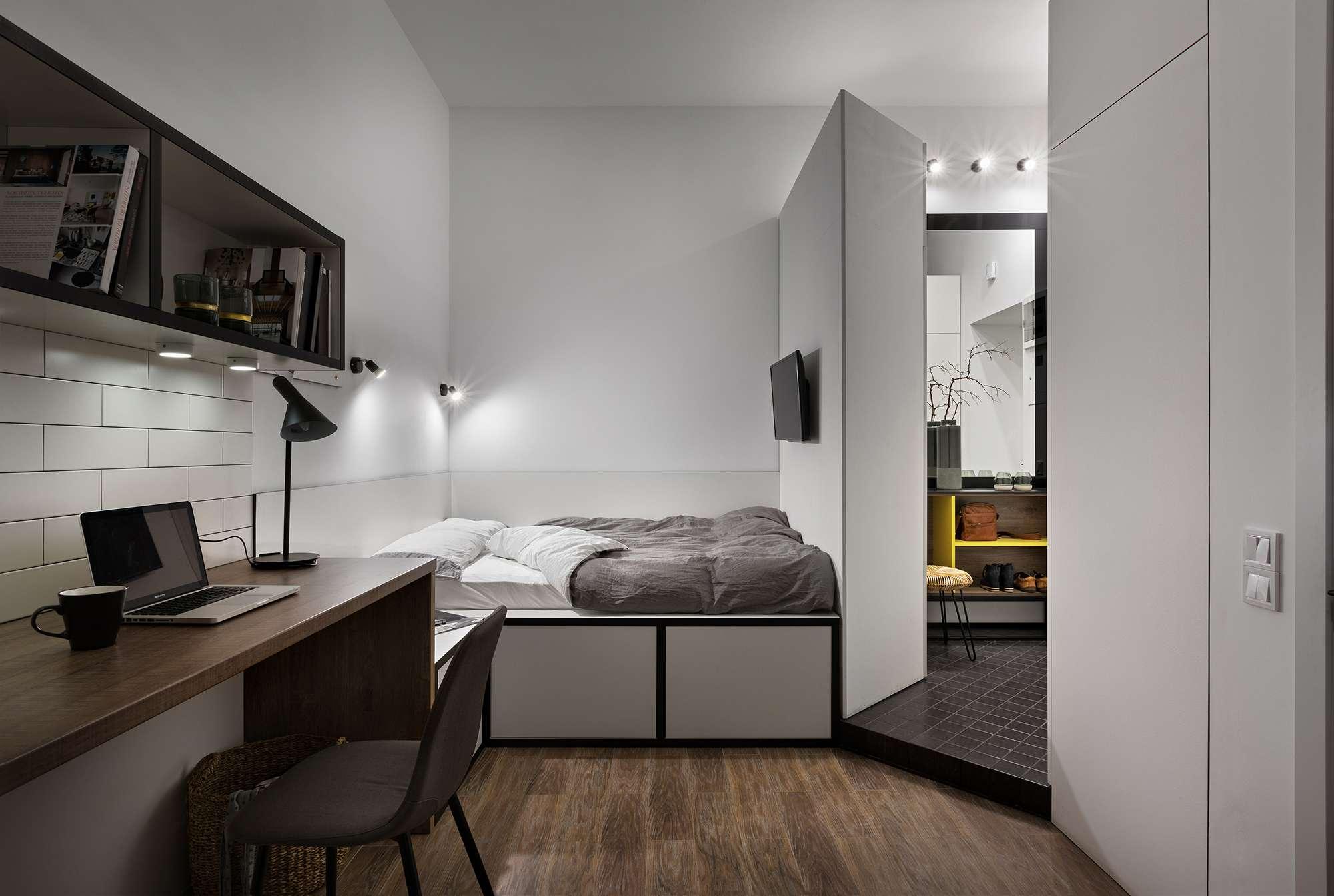 Odessa micro-apartment renovation Fateeva Design bed