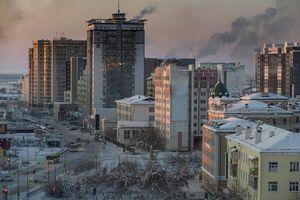 City of Yakutsk, Russia, at winter dusk