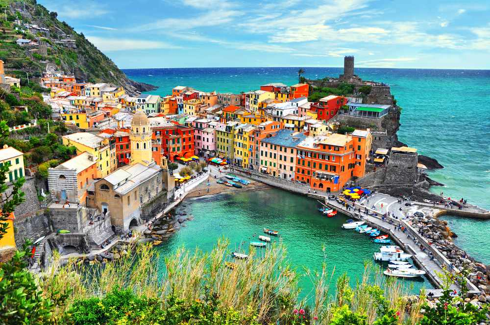 Aerial view of the colorful buildings of Cinque Terre