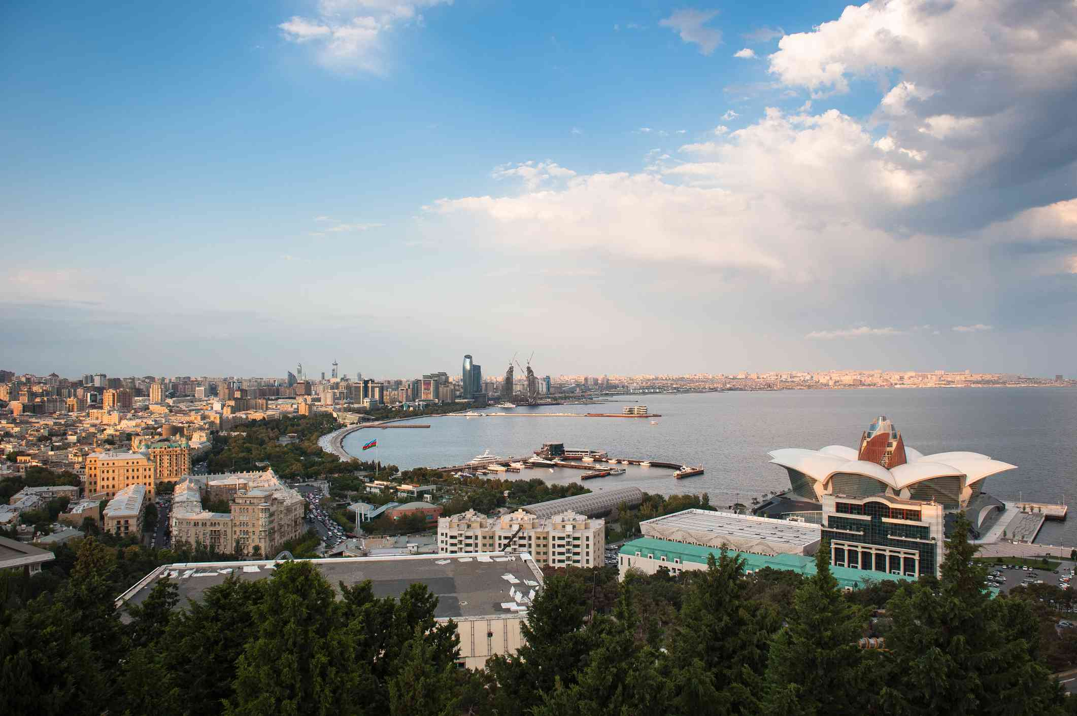 A view of the Caspian Sea from the shores of Azerbaijan