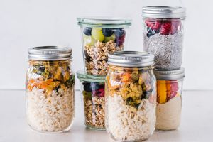 Food in several glass mason jars