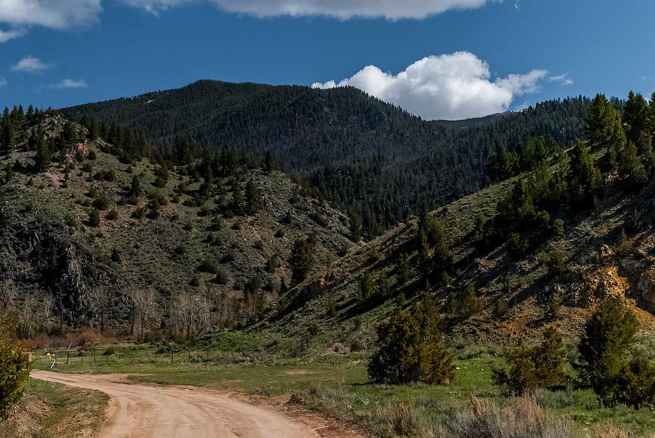 View of Gem Mountain mining area from a dirt road