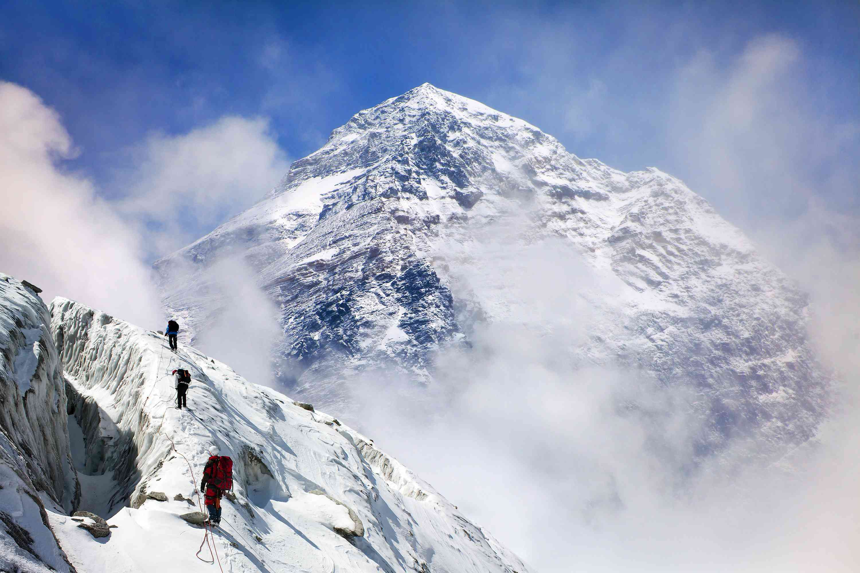 Mount Everest with group of climbers