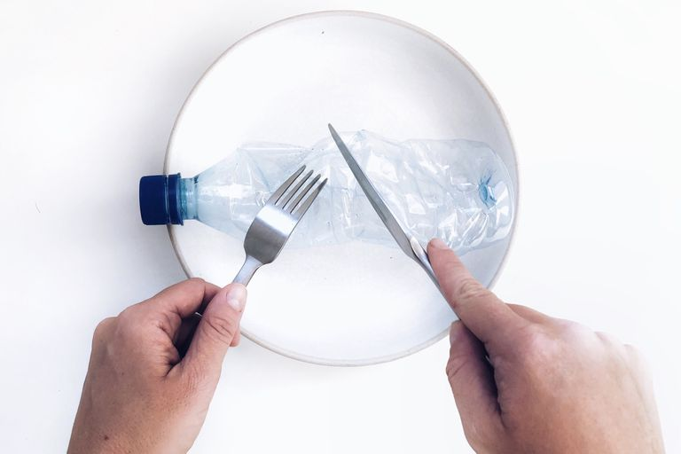 plastic bottle on a plate