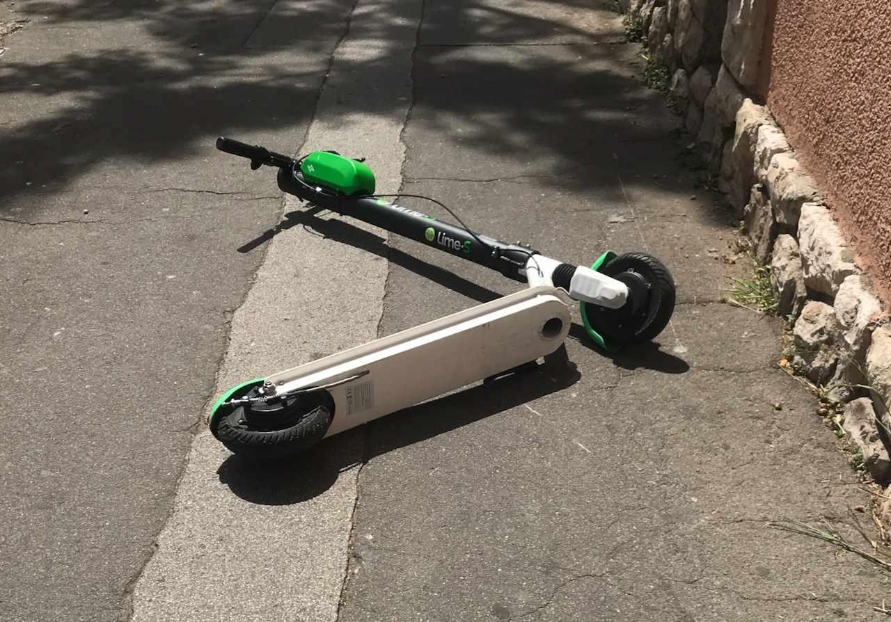 Lime in the sidewalk