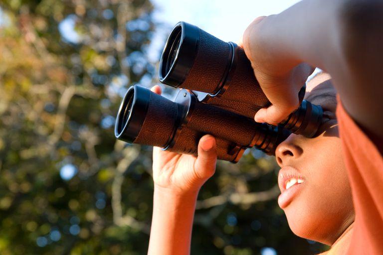 A boy looking through binoculars standing under a tree