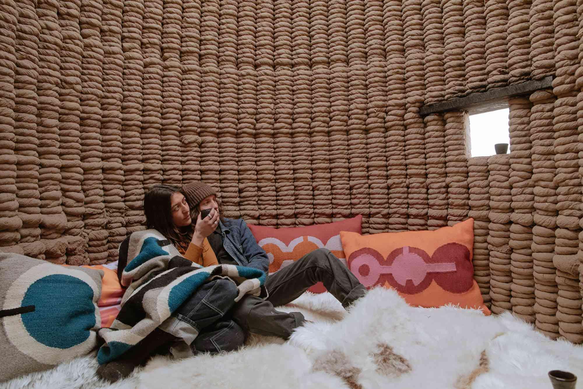 Casa Covida 3D printed adobe house by Emerging Objects sleeping room