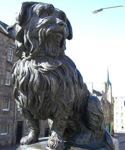Statue of a proud terrier