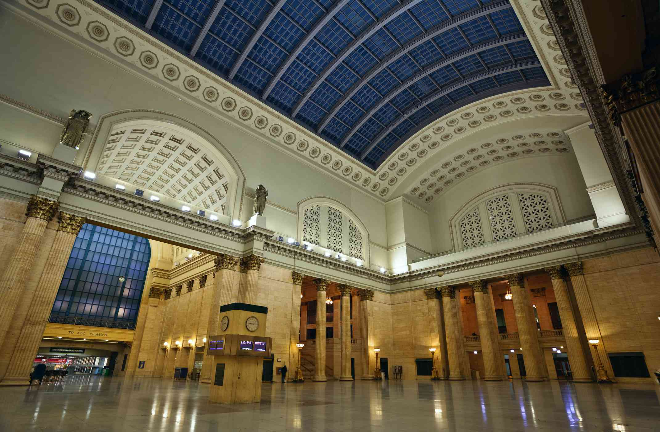 The skylight of the Great Hall in Chicago Union Station