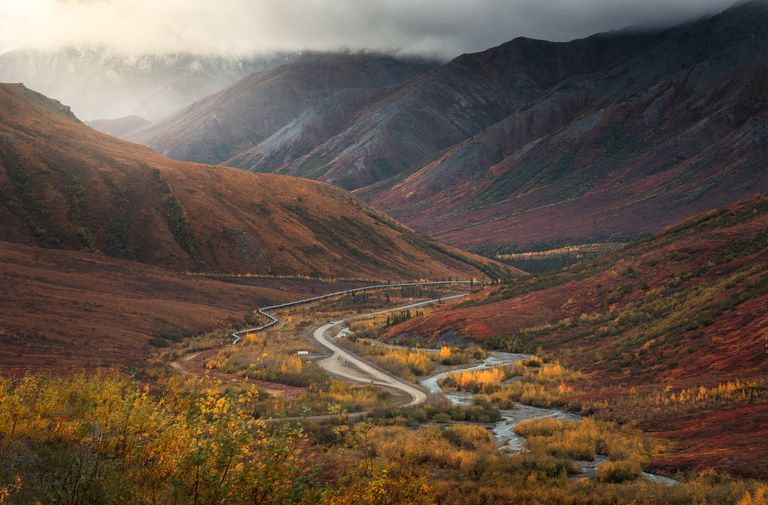 Aerial view of mountains and autumnal foliage on Dalton Highway