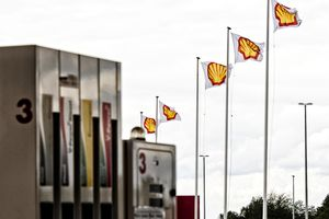 hell banners flutter in the breeze at a company's gas station in highway A3, near Herve, Belgium, 18 August 2014.