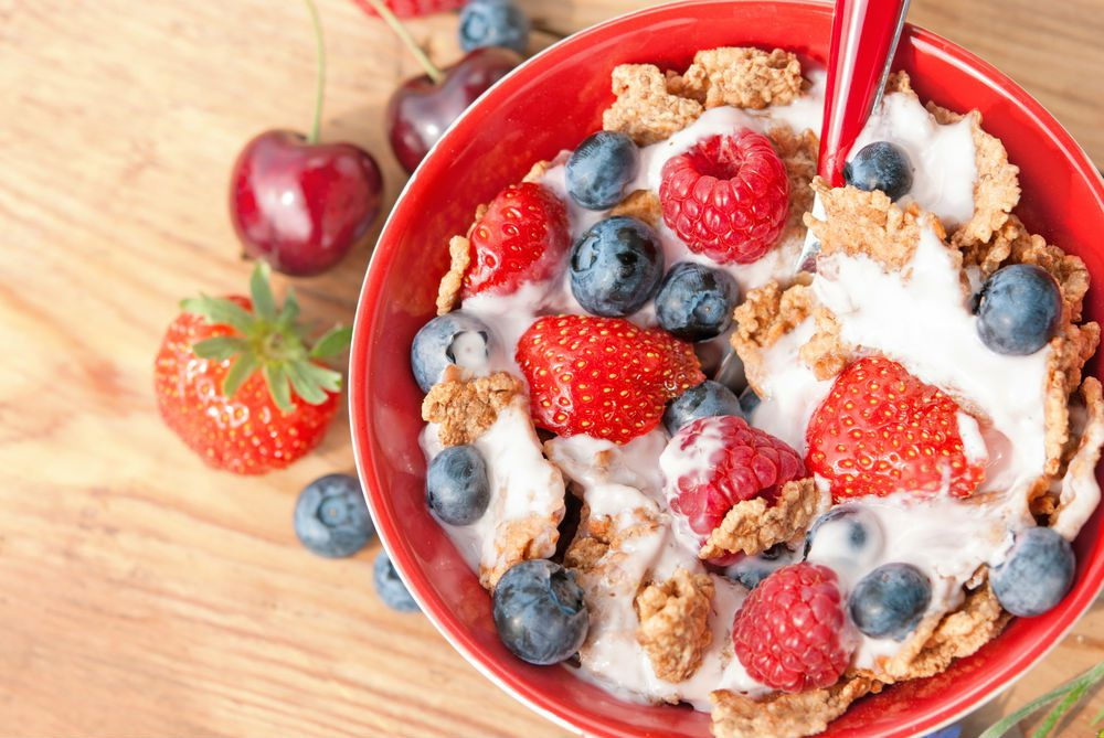 cereal with berries using milk high in vitamin d