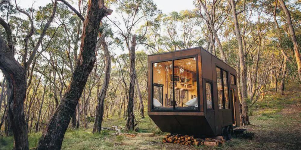 Jade tiny house in the trees in Australia.