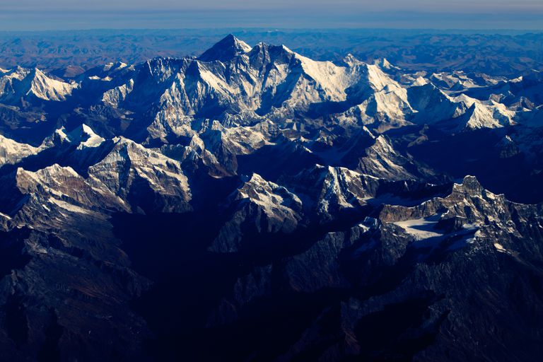Aerial view of snow-capped Mount Everest