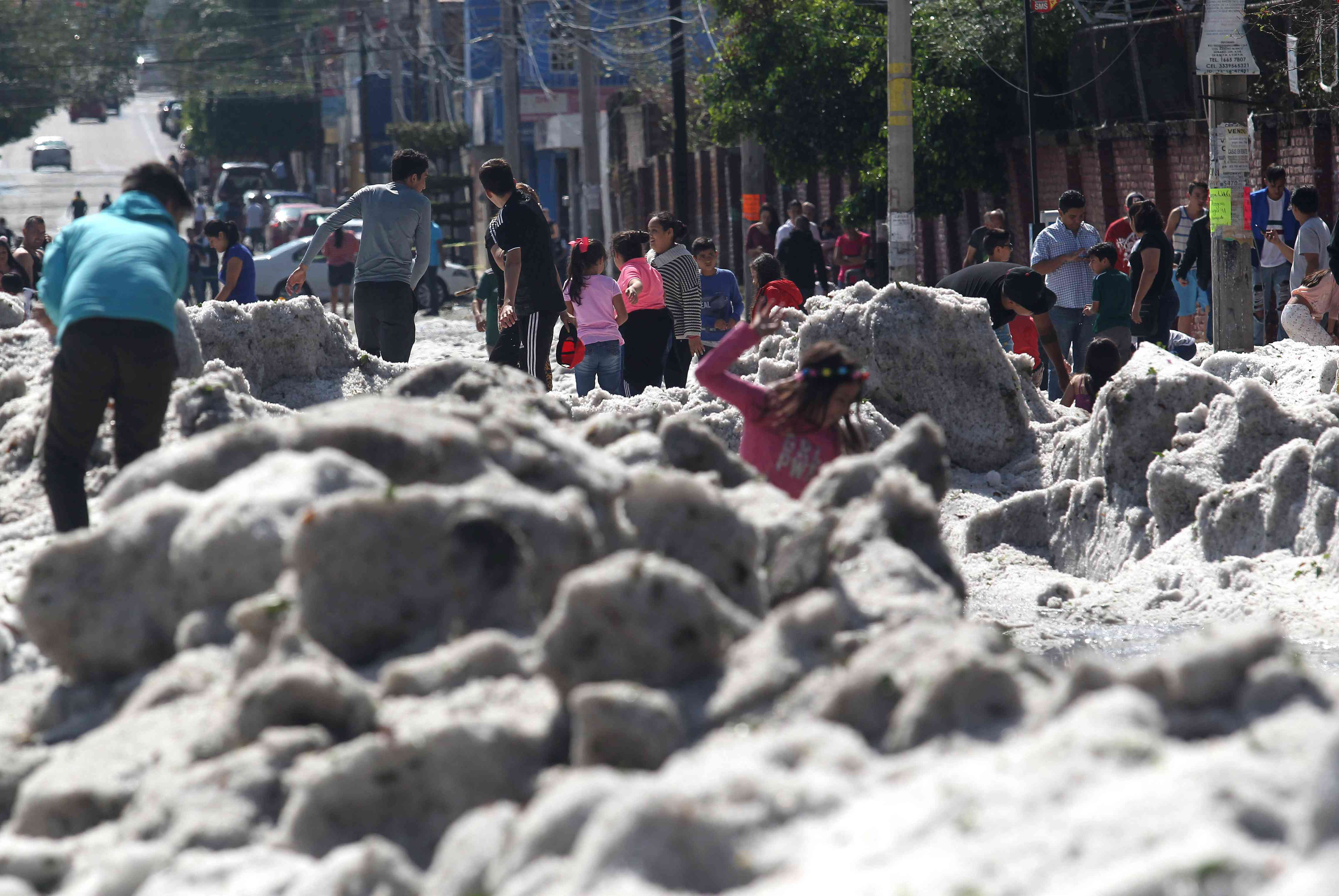 A freak hail storm on Sunday struck Guadalajara, one of Mexico's most populous cities