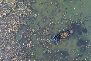 Plastic Pollution in the Ocean; Man Cleaning Plastic Pollution in the Sea
