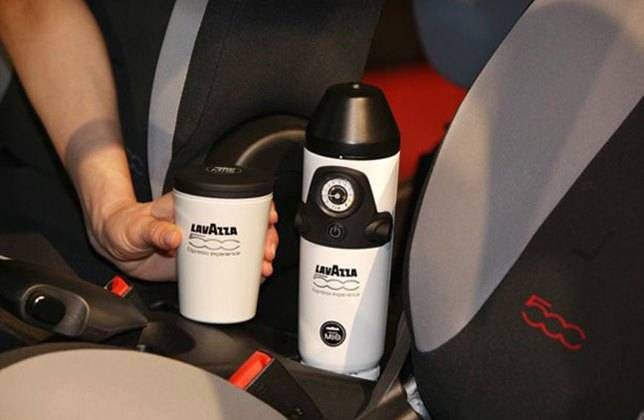 Is brewing coffee in the car a good idea? The Lavazza is in some Fiats
