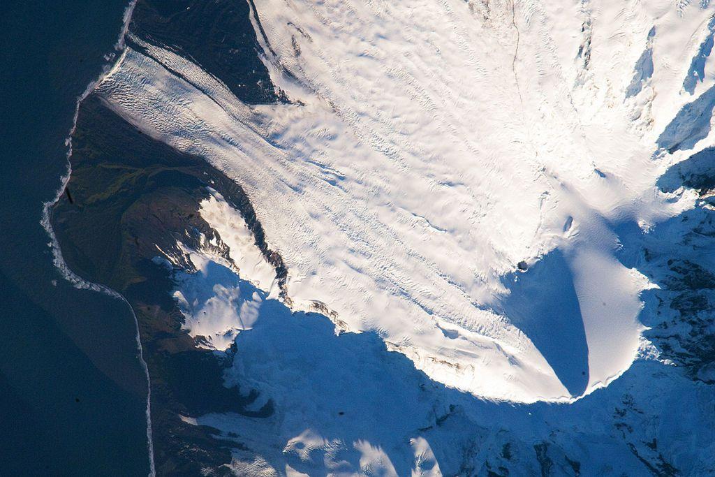 A satellite image of snow-capped Heard Island in Australia