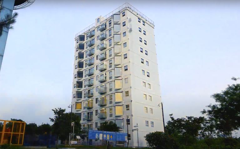 10-story building