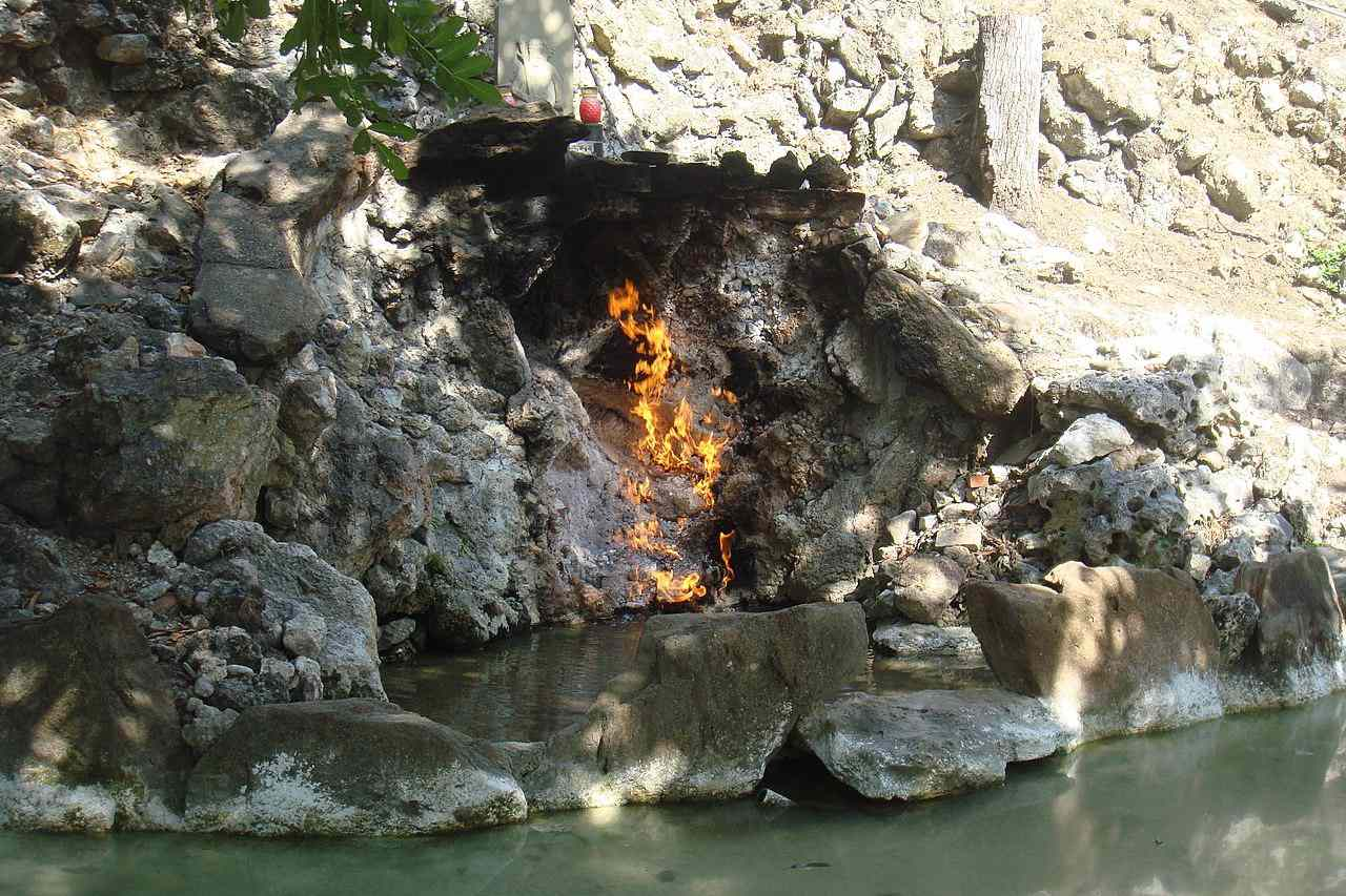Cave burning at the Fire and Water Spring