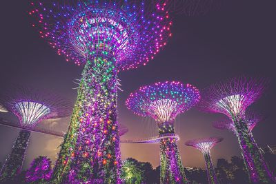 Low-angle view of solar-powered supertrees in Singapore