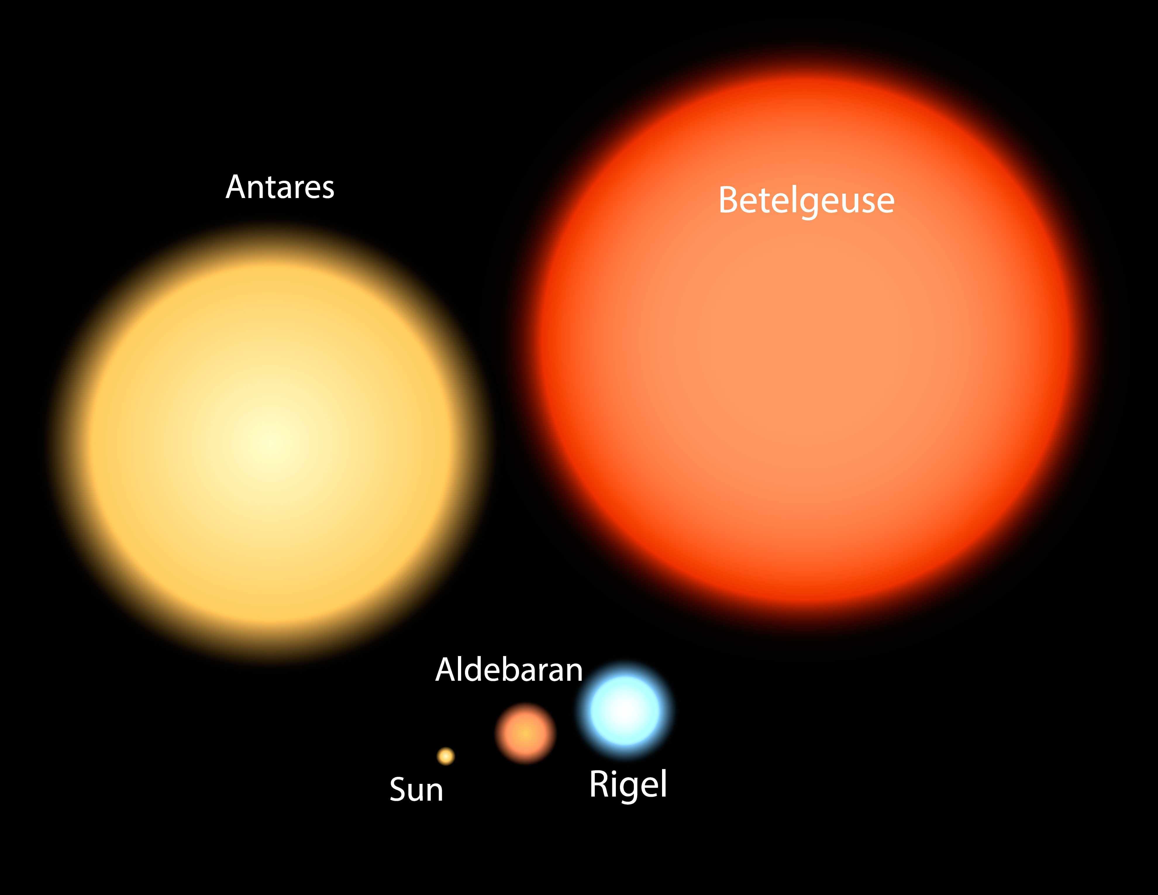 A chart showing size of Betelgeuse compared to our sun.