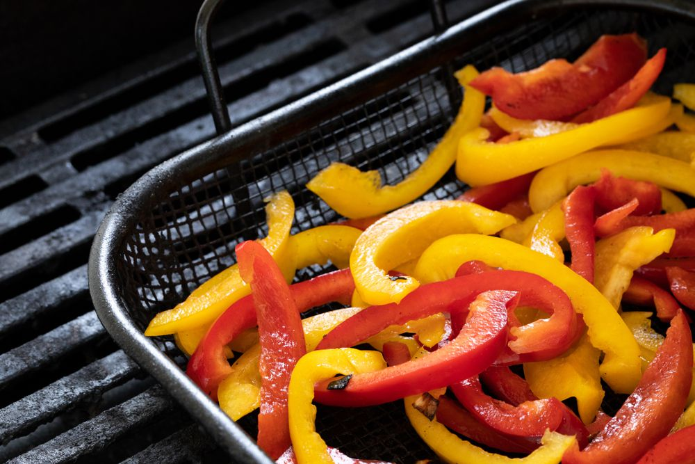 grilling basket, bell peppers
