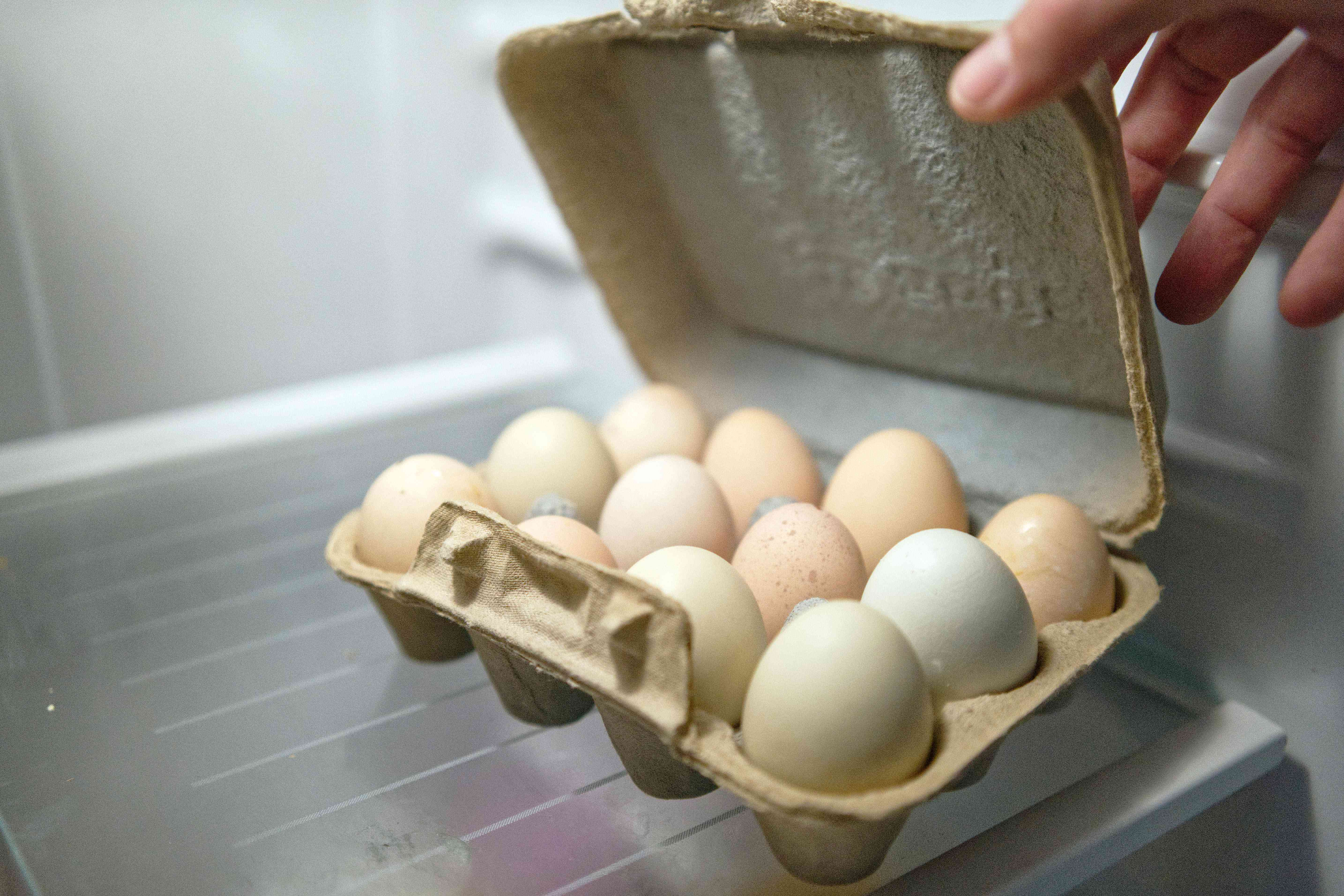 hand opens recycled egg carton in fridge to show farm fresh eggs stored