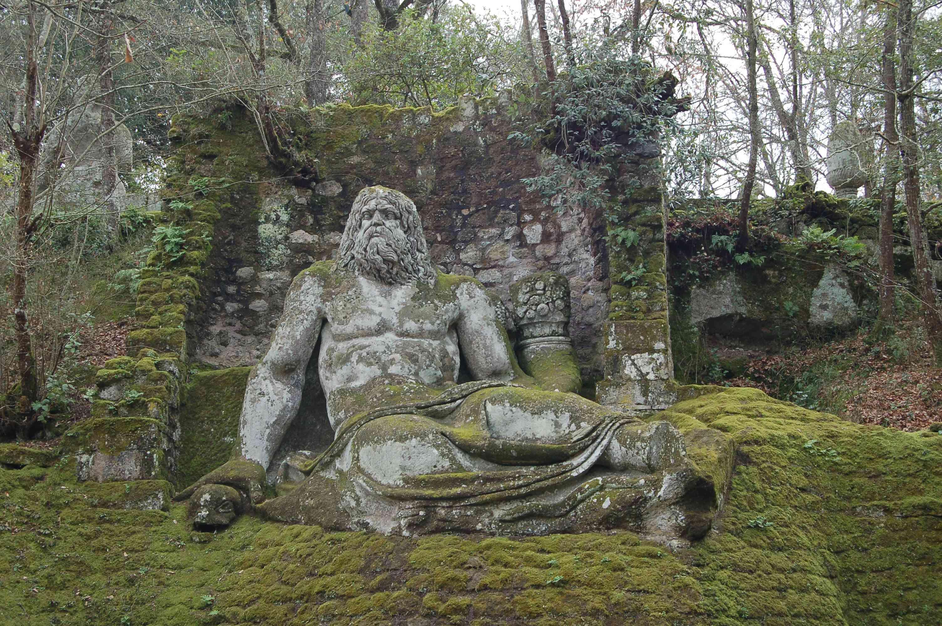 Neptune statue at in the Sacro Bosco in Park of the Monsters, Bomarzo, Viterbo, Italy