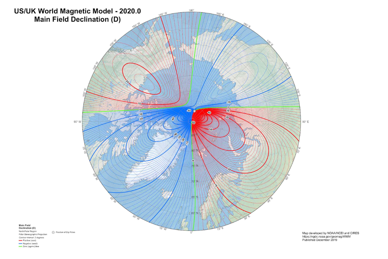 World magnetic model 2020, declination