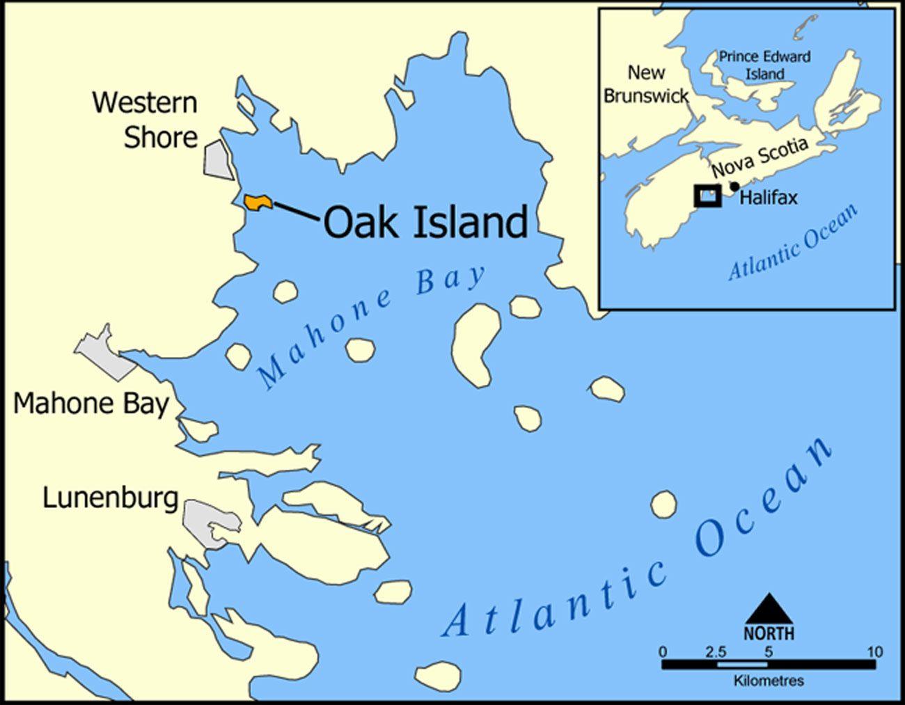 A map of Oak Island, Nova Scotia