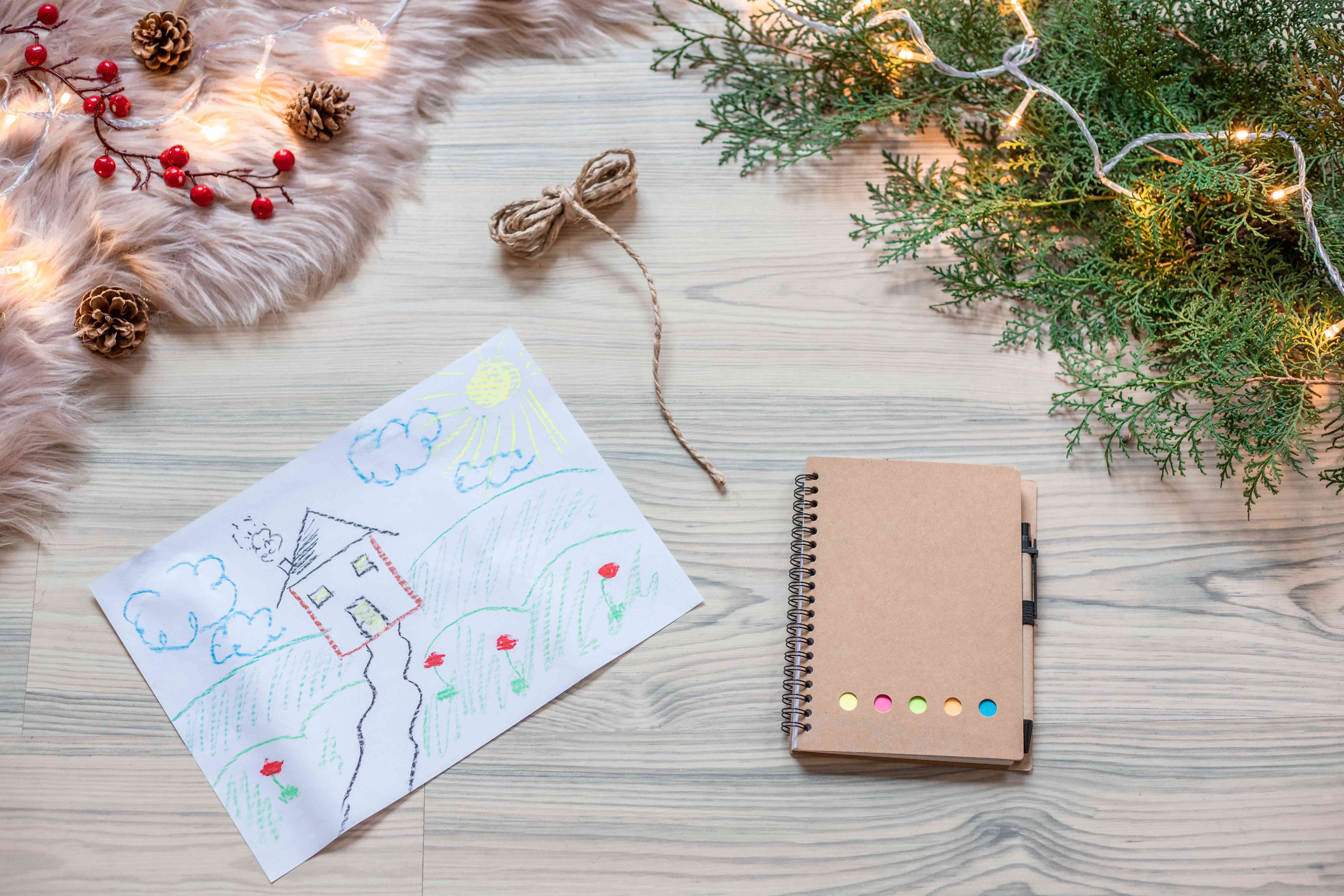 child's drawing repurposed for gift wrap christmas paper