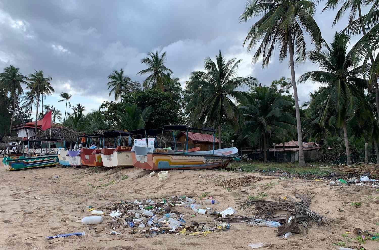 plastic on beach in Trincomalee, Sri Lanka