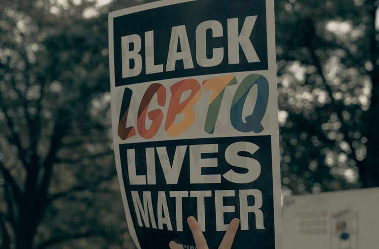 black LGBTQ lives matter protest sign