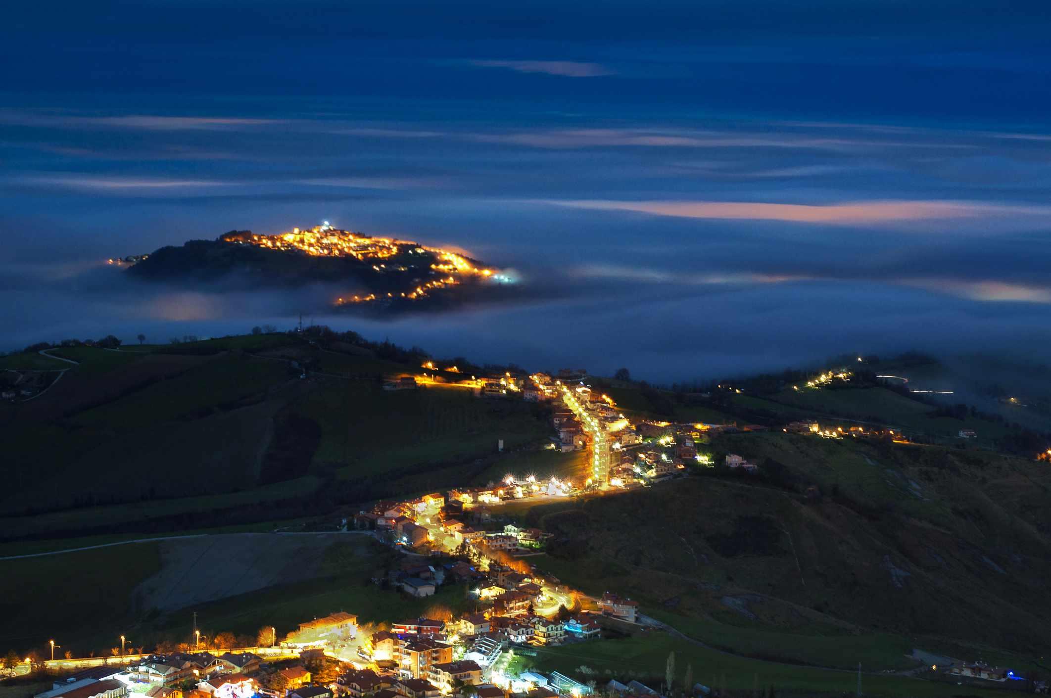 Night panorama from Monte Titano, San Marino