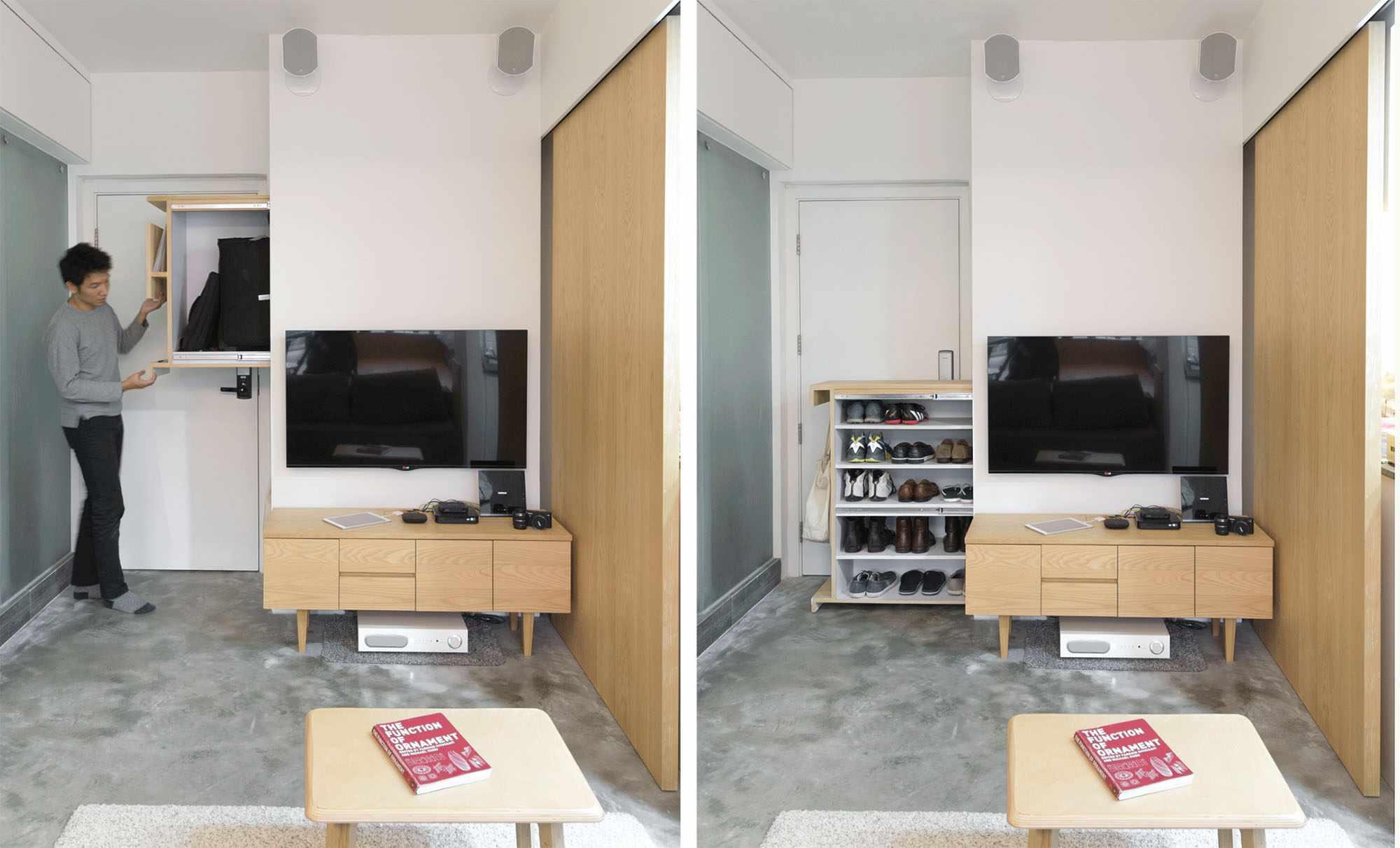 micro apartment renovation Design Eight Five Two entryway hidden storage