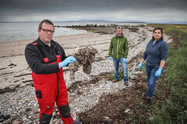 Three scientists with plastic litter on the beach