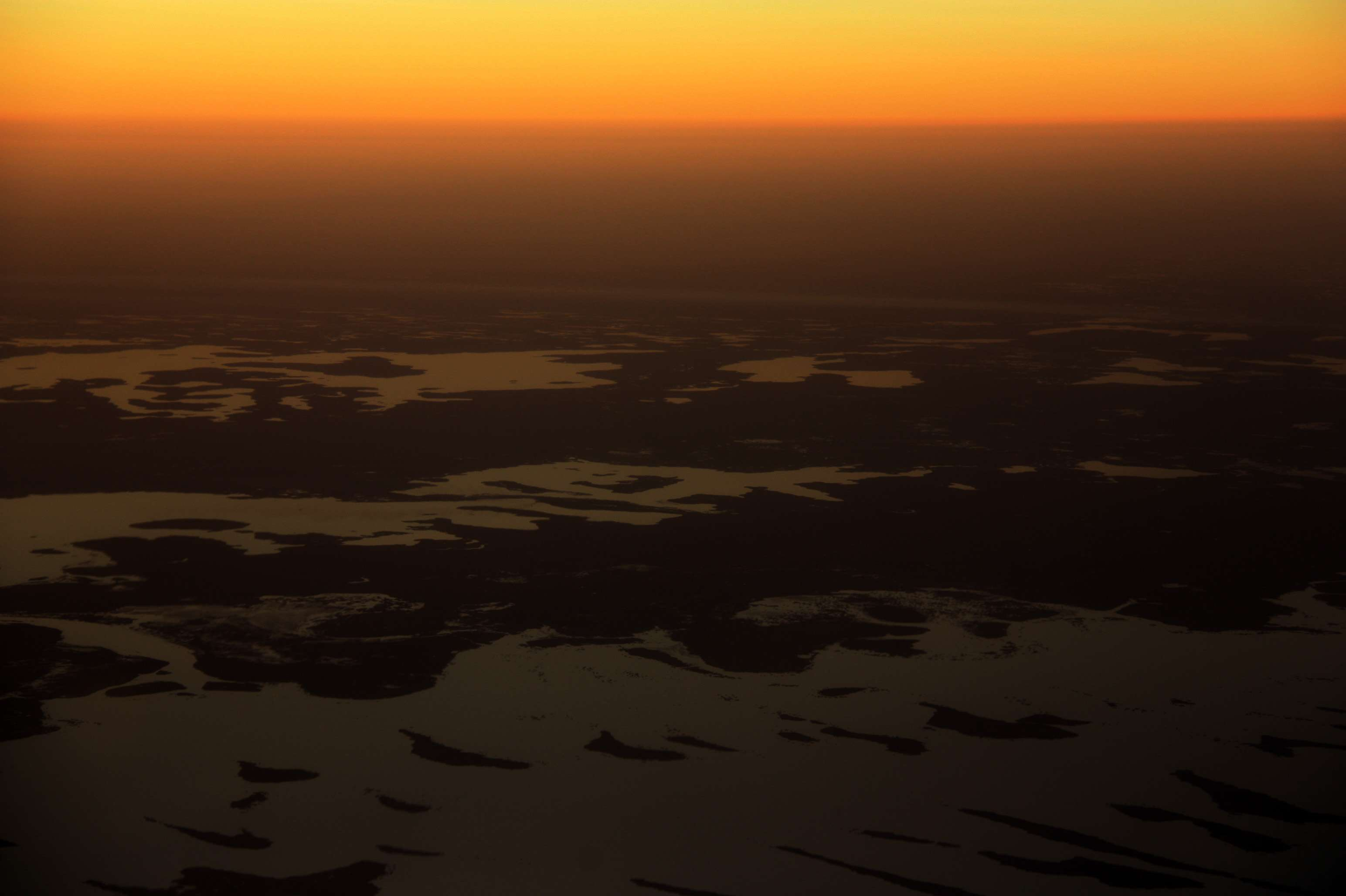 Aerial view of Lake Chad at sunset