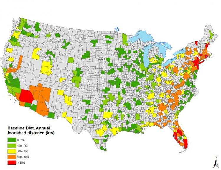 map of U.S. local food production potential