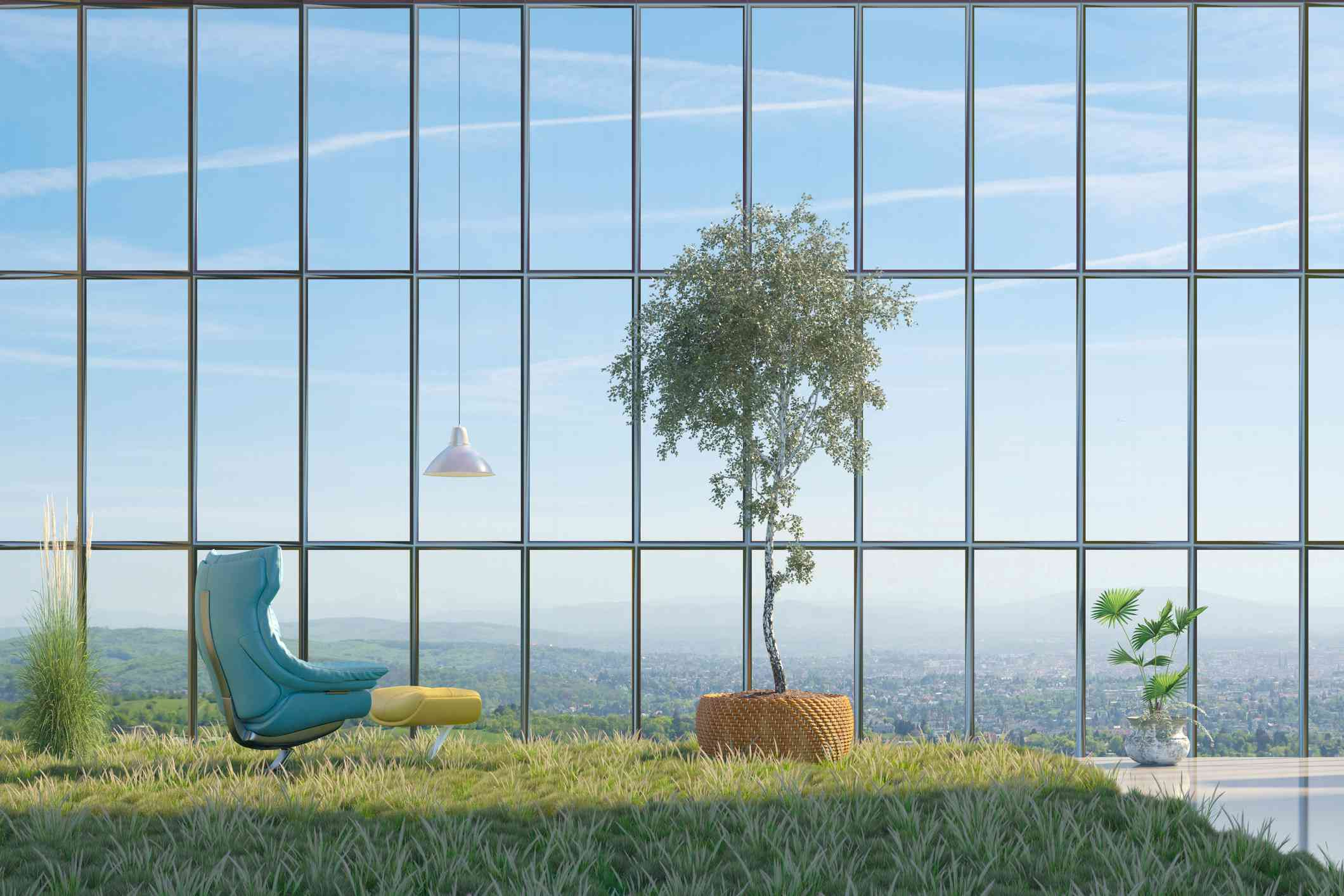 A future indoor-outdoor scene with modern furniture.