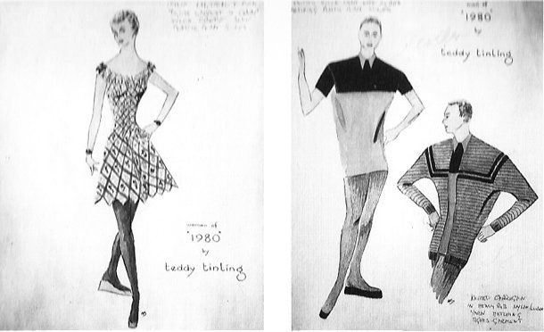 Sketches of clothing designs for men and women
