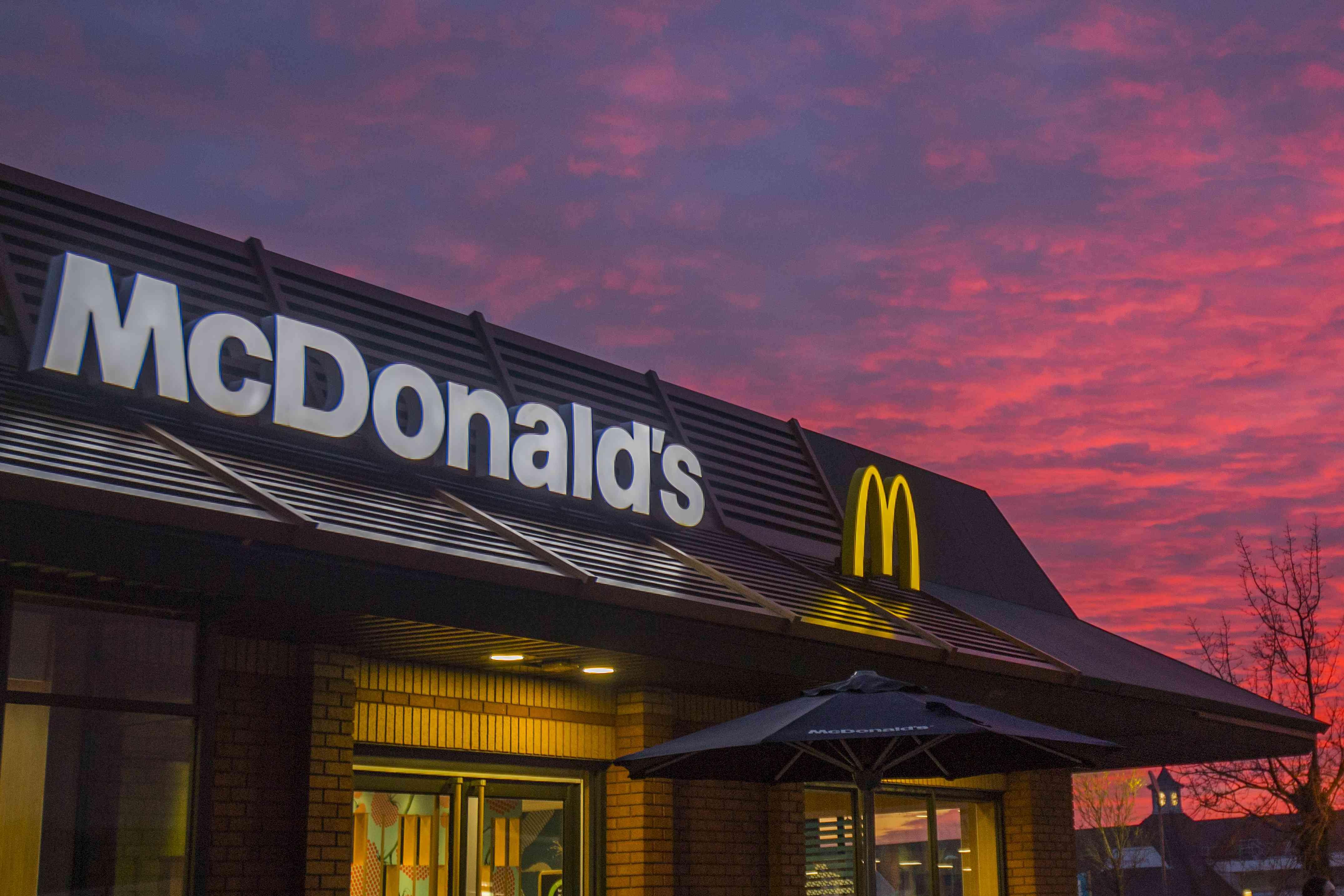 McDonald's facade at sunset