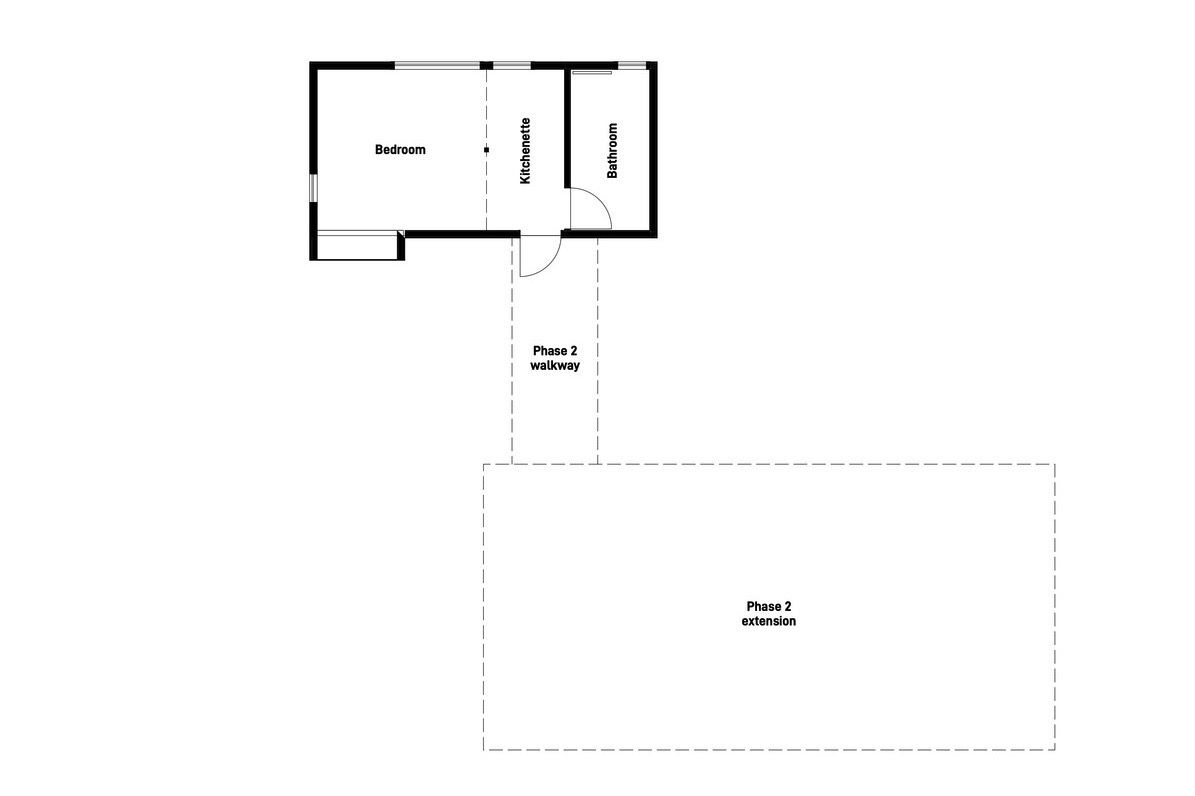 plan of cabin and future extension