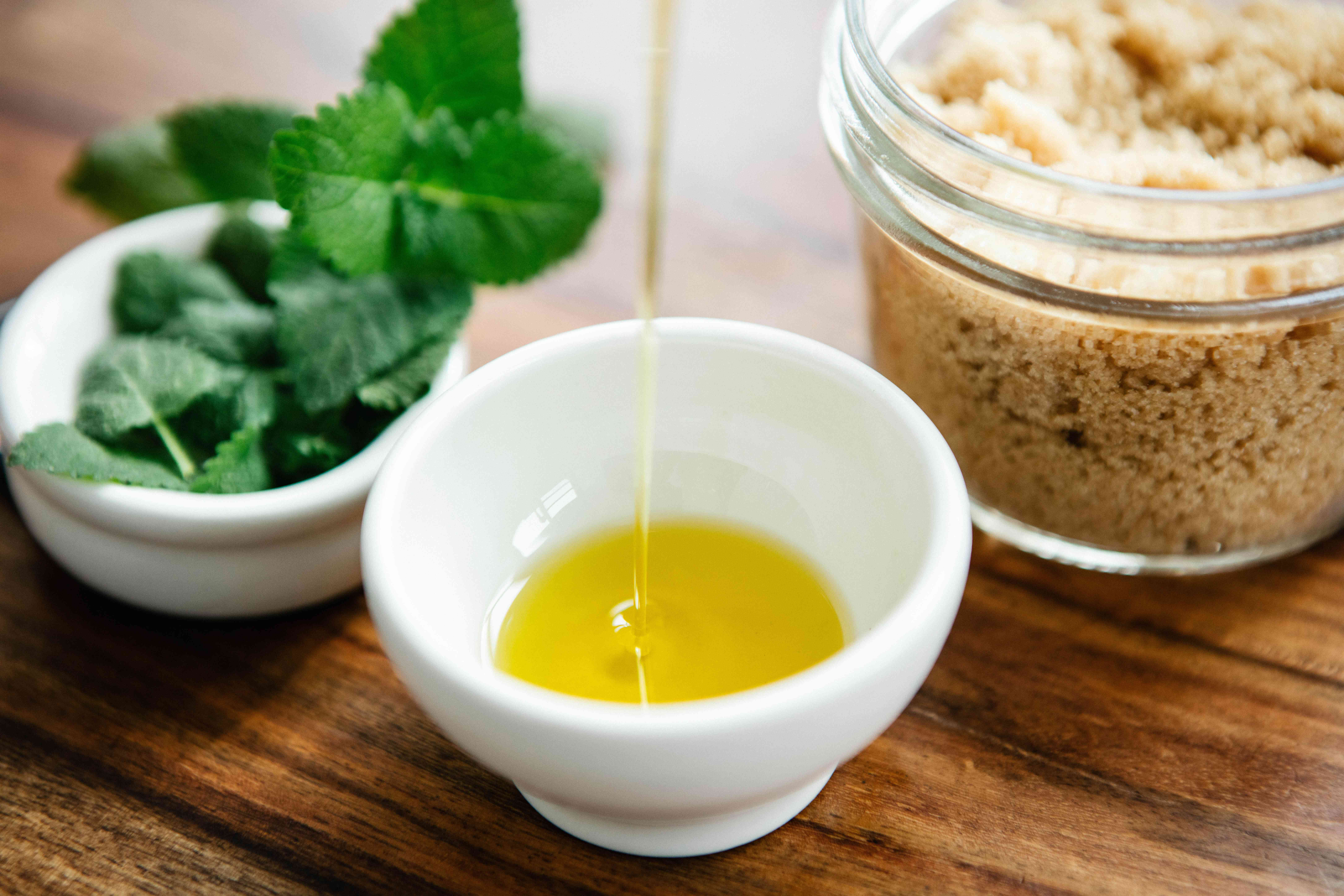 diy foot scrub with mint and oil and sugar