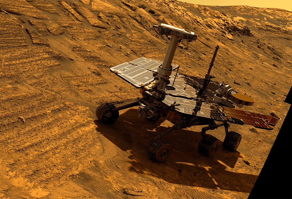 Opportunity in Endurance crater (simulated view based on actual imagery).