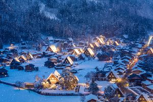 High-angle view of Shirakawa-go covered in snow
