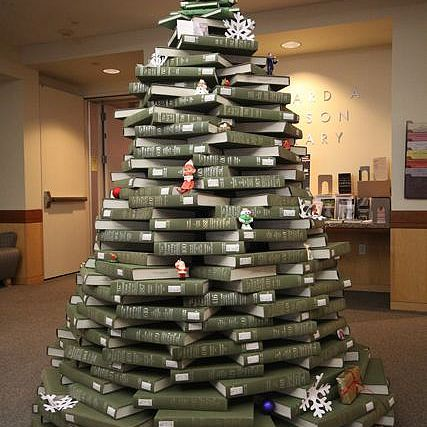 Christmas tree of books at the Gleeson Library