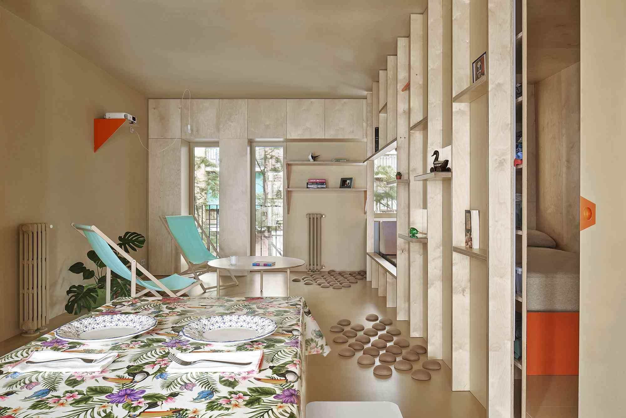 small apartment renovation madrid Husos Architects open plan interior