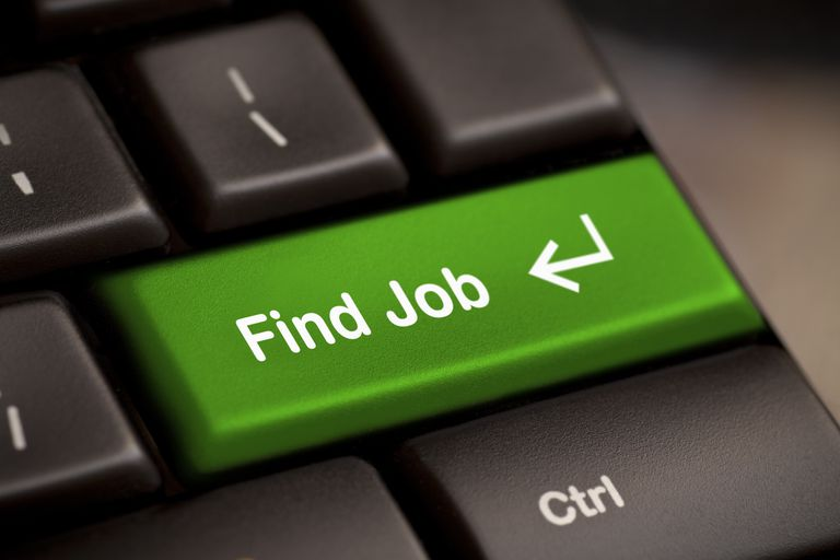 """Keyboard with green enter key reading """"Find Job"""""""
