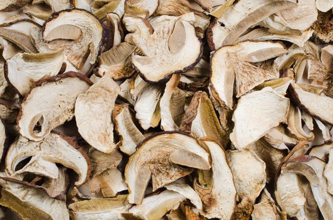 A pile of dried porcini mushrooms